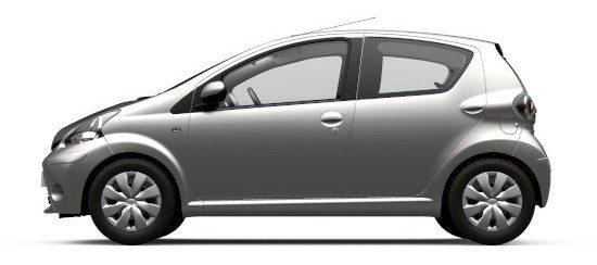Bilde av en Toyota Aygo, leiebilen hos Bilkosmetikk