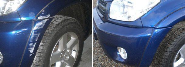 Bilde av bilskade før og etter billakkering