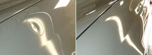 Bilde av parkeringsbulk før og etter reparasjon